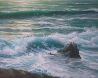 Looking Down Seascape Sea Ocean Waves Surf Marine Original Oil Painting