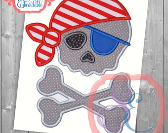 Pirate Pete Applique Design For Machine Embroidery INSTANT DOWNLOAD
