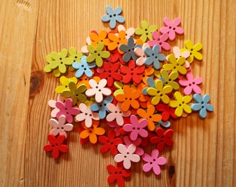Wooden Flower Buttons × 10