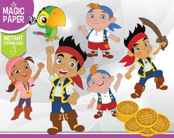 Jake And The Neverland Pirates Clipart - Disney Digital 300 DPI PNG Images, Photos, Scrapbook, Digital, Cliparts - Instant Download