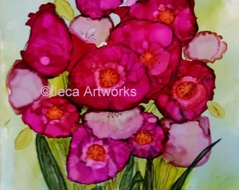 Flowers Original 5 x 7 Alcohol Ink Painting with Mat and Backing Fits Your 8 x 10 Frame
