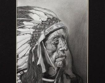 Fine Prison Art PRINTS - Native American Figure Portrait Drawing - Jack Red Cloud, Oglala Sioux