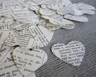 Paper heart book confetti