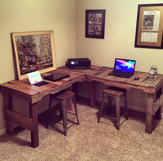 Items similar to l shaped desk made from reclaimed pallets on etsy - Making a corner desk ...
