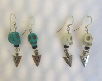 skull and arrowhead earrings