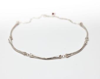 Silver Cast Bones Necklace