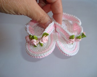 Handmade Crochet 100% Cotton Baby Girl First **Flip Flop Sandal** White - Pink With Flowers 0 - 3 Months