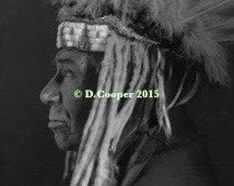 Ojibwe Chief, Chippewa, canvas photos, Indian photos, Minnesota Indians, old photos, historic, black and white, David Cooper Collection