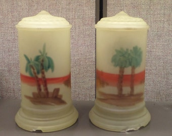 Rare Egyptian Revival Radio Lamps - 1920's to 1930's - Hand-painted reverse glass