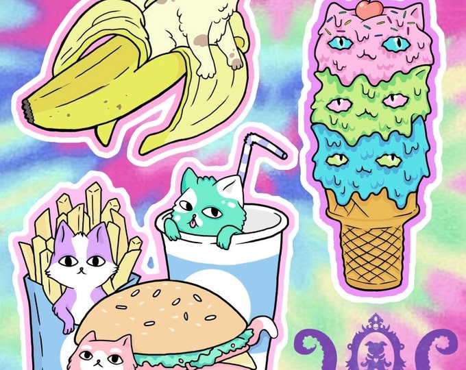 Cute Food Cat 3 Pack Stickers or Magnets
