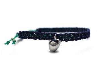 Apple cord bracelet, Mix color woven cord bracelet with Silver Apple pendant