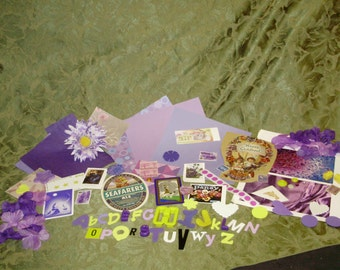 Collage Pack  75 Pieces Purple Yellow Ephemera Embellishments Mixed Media Altered Art Vintage and Newer Inspirational Ecclectic