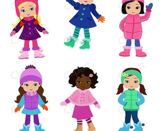 50% OFF SALE Girls winter clothing clipart set