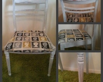 Grey Shabby Chic Postage Stamp Dining Chair