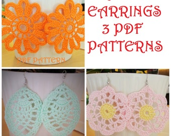THREE Crochet Earrings PDF Patterns