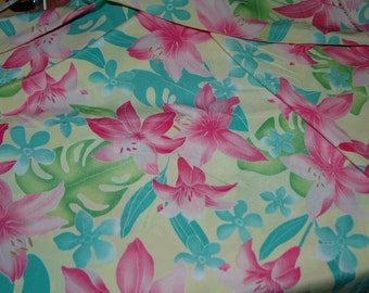"Pretty Tropical fabric (pink, yellow, blue and green) - 45"" x 77"""