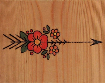 Arrow with Flowers, Old School, Pyrography