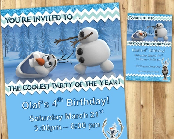 Olaf Birthday Invitations - Download Edit Customize Print - Olaf Frozen Birthday Invitations - Olaf Invitation - Olaf Invite - Frozen Invite
