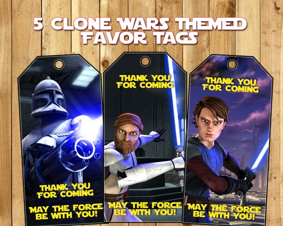 Clone Wars Party Favor Tags - Download Customize Print -Clone Wars Loot Bag Tags Star Wars Clone Wars Favor Tags Party Favour Thank You tags