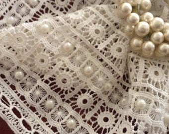 White lace with pearls
