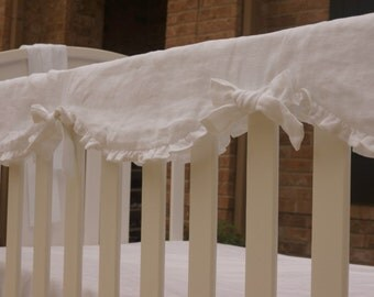 Crib Rail Guard, Linen crib rail guard, crib rail cover, bumperless crib bedding, bumperless crib set, linen crib bedding, crib bedding,