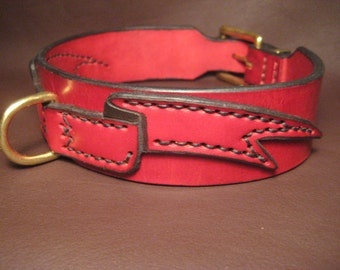 red leather banner collar leather collar dog collar dog
