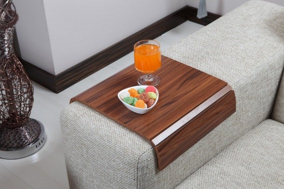 Sofa tray table canadian walnut armrest table by - Table console pliable ...