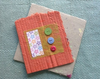 Handmade colourful button card