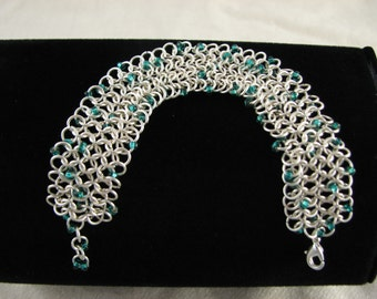Silver 4-in-1 Beaded Chainmaille Bracelet