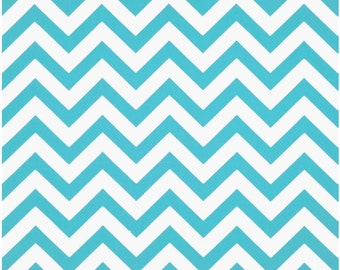 1/2 Yard Aqua and White Chevron Fabric - Premier Prints Girly Blue and White Zig Zag Chevron Fabric turquoise aqua blue HALF YARD
