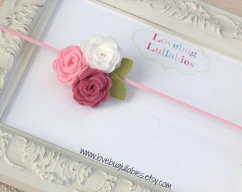 Felt Rose Headband or Hair Clip in Pink & White for Newborn Baby Child or Adult