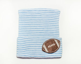 FOOTBALL blue and white striped newborn baby boy hospital hat, baby boy, newborn boy, baby boy hat, newborn boy hat, boy hat