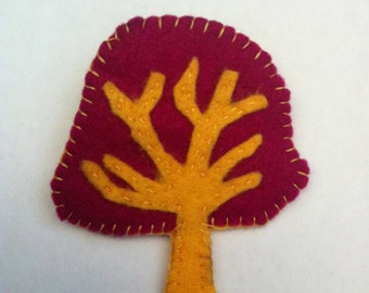 Magenta-Yellow Tree Brooch