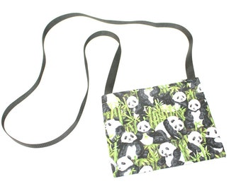 Panda Time fabric mini crossbody bag, perfect for travel or a night out!
