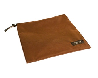 Nylon Pouch 8x8 inch Brown   use for travel, snacks, cosmetics, a tool bag, photo-video gear, and more!