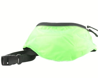 Fanny pack Neon Green Nylon  - Hip Bag made from nylon packcloth 2-Zippers