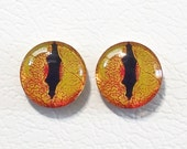 12mm Golden Yellow Snake Flat Backed Glass Eyes - 1 pair - item #17D