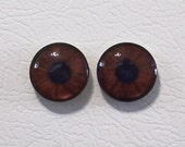 16mm Brown Flat Backed Glass Eyes - 1 pair - Item #6C
