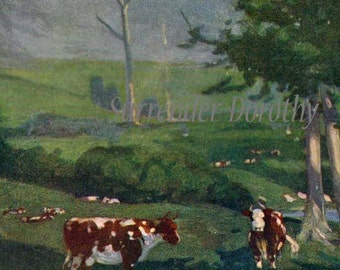 Storm On A Cattle Farm Uruguay A S Forrest 1910 Original Antique Watercolor Vintage Lithograph To Frame