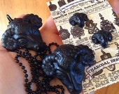 """Resin Goat Ram Aries Jewelry Set - Brooch Necklace Earrings - Sold Separately OR Set - 30"""" Black Ball Chain - Stud Earrings - Mark Of The Be"""