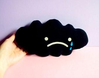 BLACK Cloud Plush Toy, MINI Plush, Black Cloud, Rain Cloud, Sad Cloud, Cloud Baby Cushion, Cloud Baby Pillow, Nursery Decor, Cloud Doll
