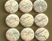 One Inch Magnet Set - Vintage North Dakota Map - One of a kind set