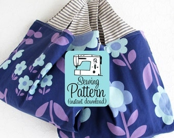 Grocery Bag PDF Sewing Pattern | Market Tote Storage Shopping Project Bag Sewing Pattern PDF
