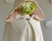 Hooded Cape Womens Cape  Hip Length Bridal Cape Velvet Wool Cashmere