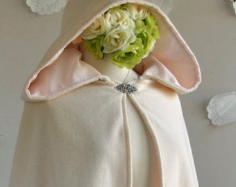 Hooded Bridal Cape in wool or velvet - Hip length women's cape