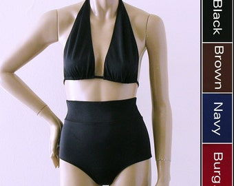 Marilyn Halter and Ultra High Waist Cheeky Bottom Bikini in Black, Brown, Navy Blue or Burgundy in S-M-L-XL