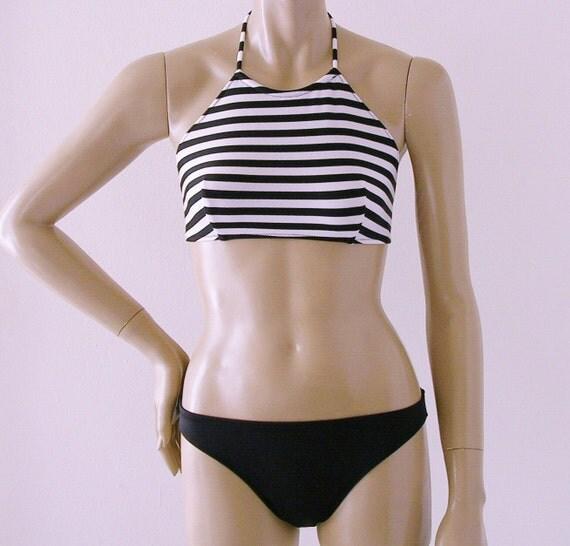 High Neck Halter Bikini Top and Full Coverage Bikini Bottom Two Piece Swimsuit in Black and White Stripe in S.M.L.XL