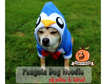 Dog Penguin Hoodie Costume XS - MED Pdf Pattern and full tutorial