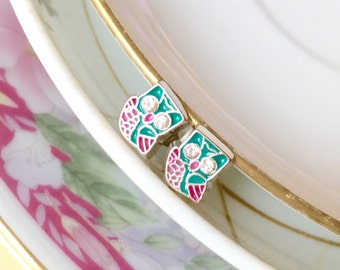 Rhinestone Owl Earrings, Turquoise Owl Earrings, Silver Enamel Earrings, Tiny Bird Earrings, Teal with Pink Detail
