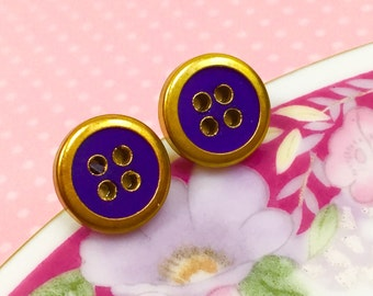 Vintage Button Studs, Brass Rimmed Royal Blue Button Studs, Button Stud Earrings, Crafty Friend Gift Idea, Sewing Button Earrings